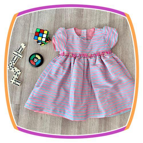 Vestido infantil Listrado Cinza e Rosa