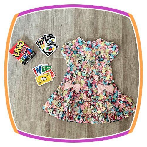 Vestido infantil Estampa Corações Coloridos