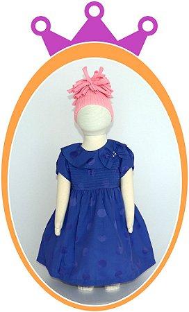 Vestido Azul com Corpo em Nervura e Poá Azul