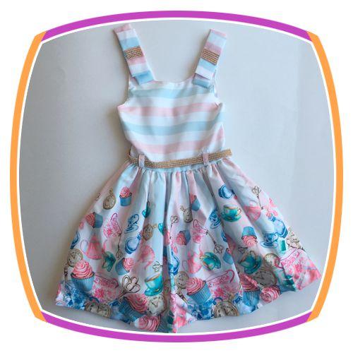 Vestido infantil Corpo Listrado e Saia com Estampa de Chá e Cup Cake