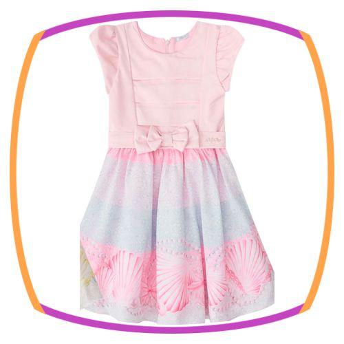Vestido infantil com Pregas na Saia e Estampa de Coroa