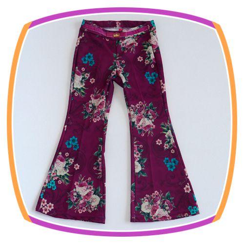 Calça Flare infantil Uva Estampa Floral com cinto em veludo
