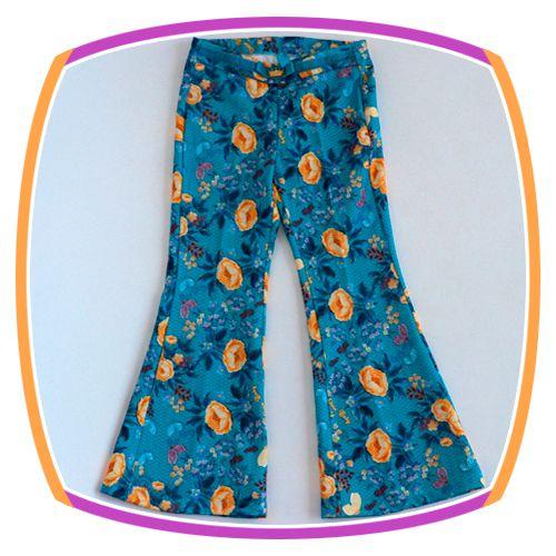 Calça Flare infantil Azul Claro Estampa Floral com cinto em veludo