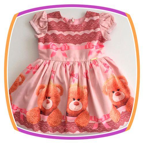 Vestido infantil com Barrado Estampa de Urso