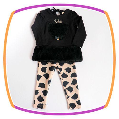 Conjunto infantil Blusão em Pelo Urso e Calça Legging
