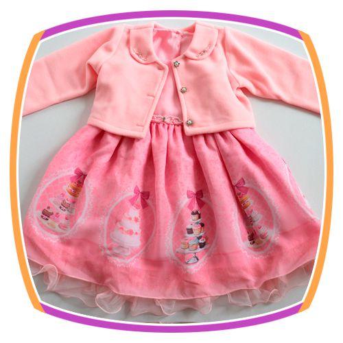 Vestido infantil com Bolero em Soft e Saia Estampa Bolo Cup Cake