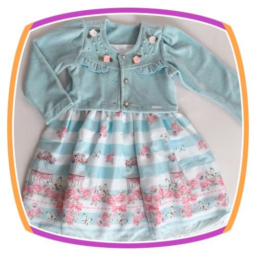 Vestido infantil com Bolero em Soft e Saia Estampa Gaiola