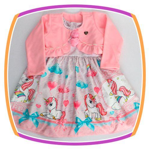 Vestido infantil Unicórnio com Bolero em Soft