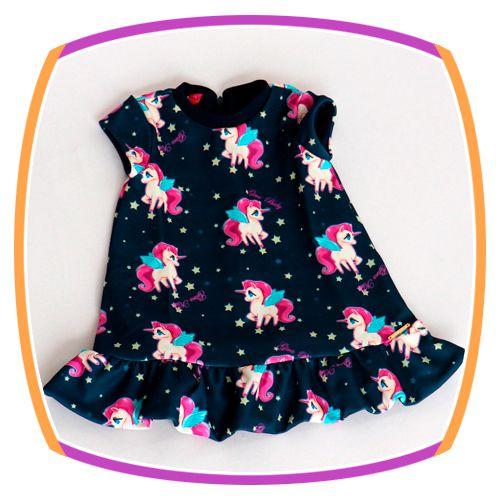 Vestido infantil trapézio Unicórnio