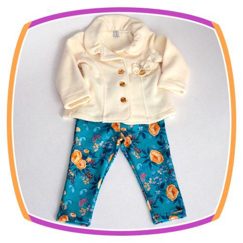 Conjunto infantil Casaco Soft e Calça Legging Floral