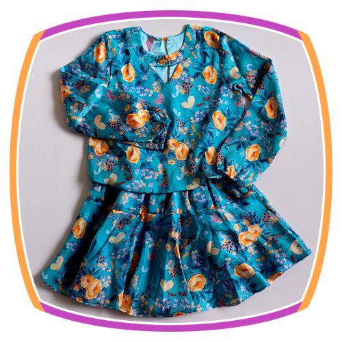Vestido infantil estampa Floral Azul