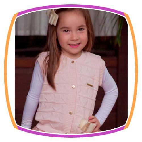 Colete infantil em tricot de coração - rosa