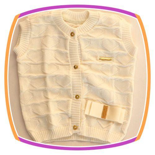 Colete infantil em tricot de coração - perola