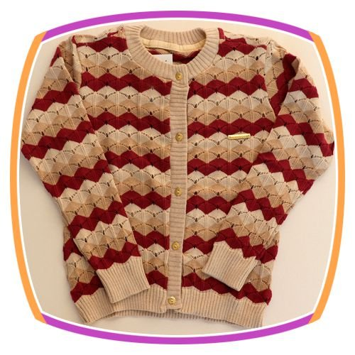 Cardigan infantil em tricot com listras - beje