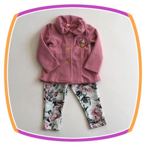 Conjunto infantil Casaco Soft  e Calça Legging Floral - rosa