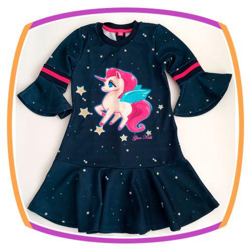 Vestido infantil estampa Unicórnio com manga flare