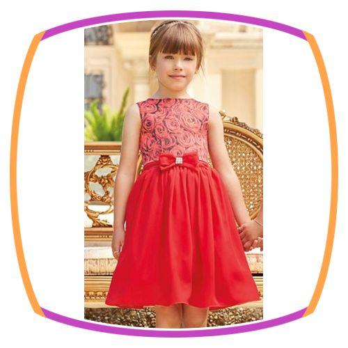 Vestido Vermelho com estampa de flores