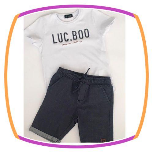 Conjunto infantil Camiseta Manga Curta branca e bermuda cotton jeans