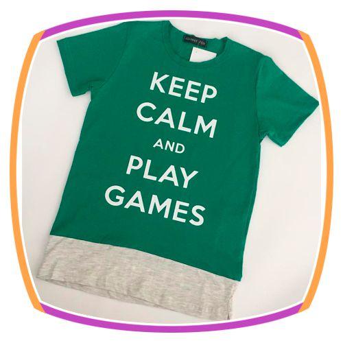 Camiseta infantil Meia Malha Keep Calm Verde