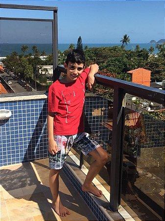 Connjunto infantil Camiseta e Bermuda em Nylon Estampada Geometrica Cinza