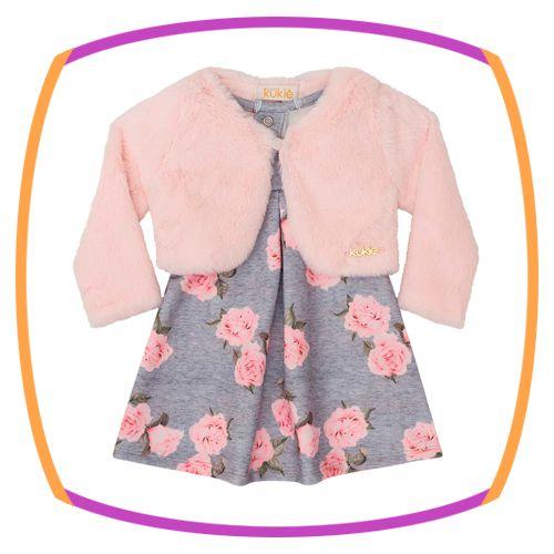 Vestido para bebê cinza em molecotton com estampa de flores e bolero de pelo rosa