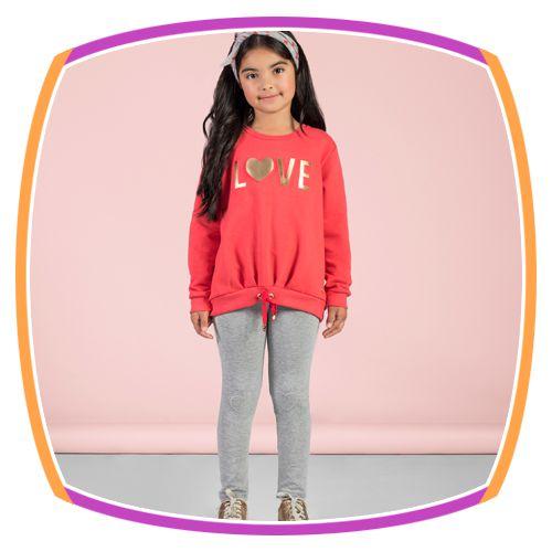 Conjunto infantil Moleton com aplique LOVE e calça mescla