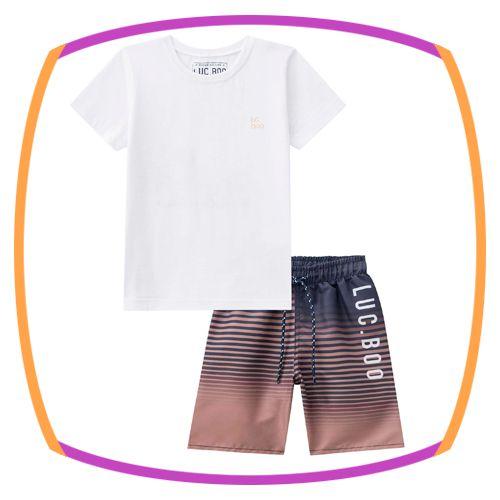 Conjunto infantil camiseta meia malha branca com detalhe nas costas e bermuda nylon marrom