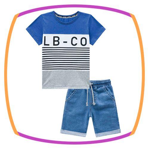 Conjunto infantil camiseta meia malha listras azul e bermuda malha jeans