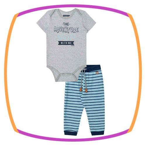 Conjunto para bebê body Adventure cinza em cotton e calça em suedine listrado azul claro