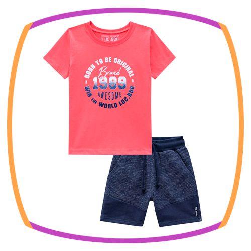 Conjunto infantil de camiseta meia malha vermelha e bermuda de moleton craft azul