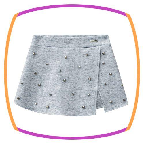 Shorts saia infantil em Fly Tech com pedras aplicadas