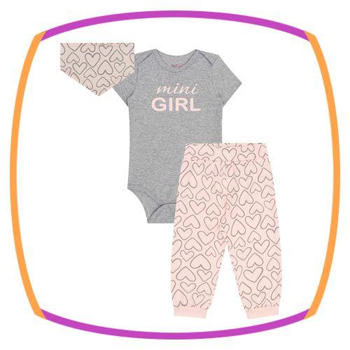 Conjunto para bebê de body e legging em cotton e lenço (MINI GIRL)