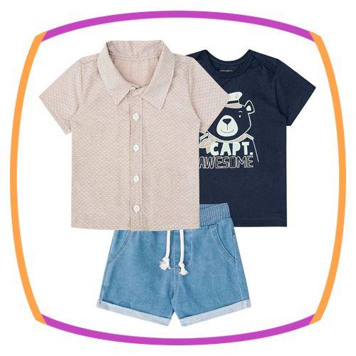 Conjunto para bebê trio Camiseta tricoline, camiseta meia malha e  bermuda malha jeans