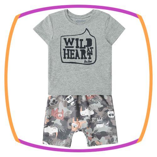 Macacão para bebê de meia malha e moleton linho WILD HEART
