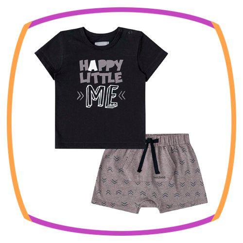 Conjunto para bebê camiseta meia malha HAPPY LITTLE ME e bermuda em malha melange
