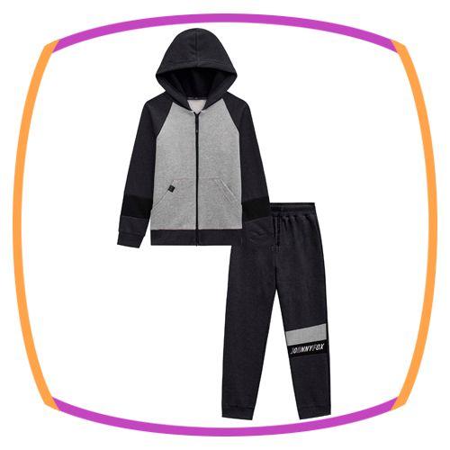 Conjunto infantil Jaqueta e Calça Jogger em moleton liso com pelúcia e detalhes