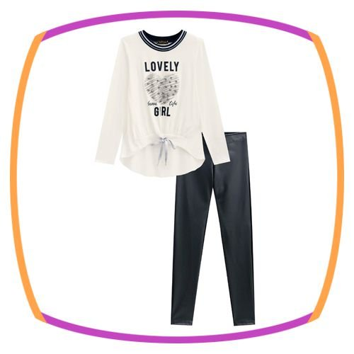 Conjunto infantil Blusa em Viscolycra branca e legging e couro eco e molecotton