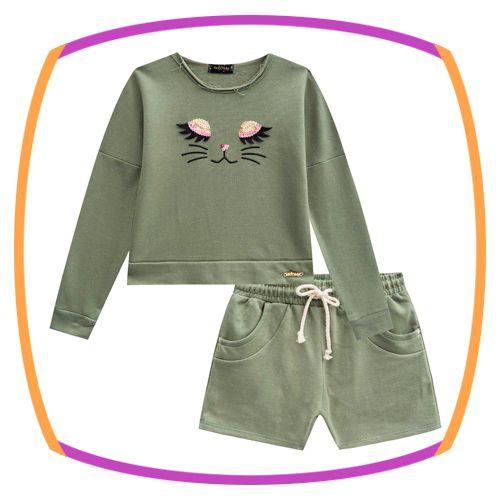 Conjunto infantil Blusão Boxy Rosto e shorts em moletton glitter