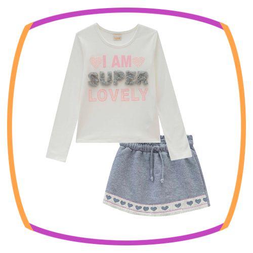 Conjunto infantil Blusa em Cotton (IAM SUPER LOVELY) e shorts saia moletom cinza