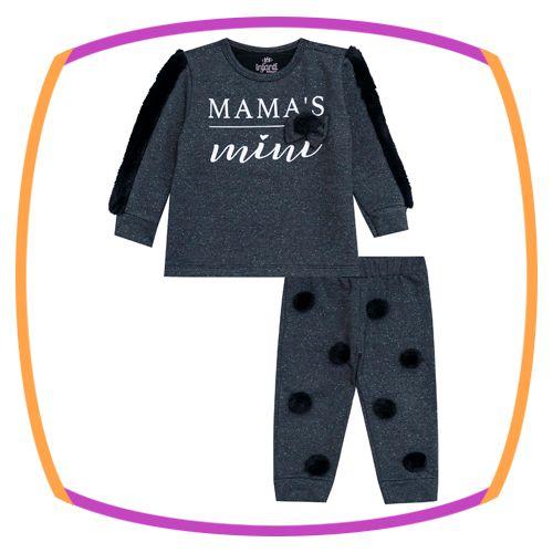 Conjunto para bebê Blusão e Calça em Motecotton glitter preto