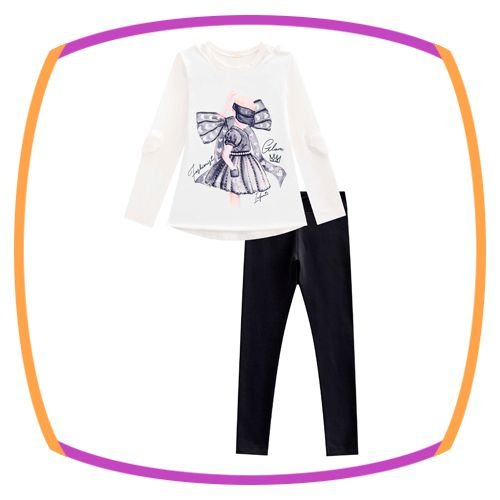Conjunto infantil Blusa Branca em cotton e legging em molecotton