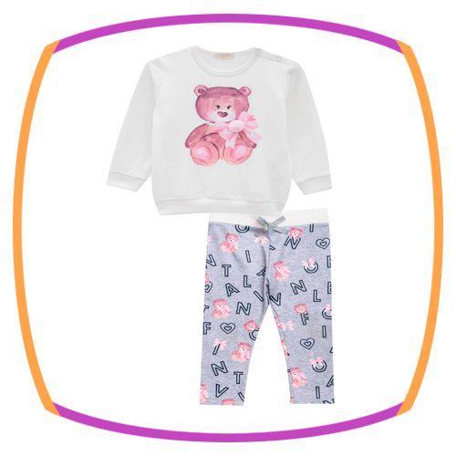 Conjunto para bebê blusão em molecotton Urso e legging em malha termica