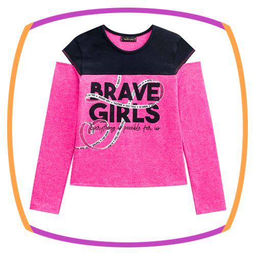 Camiseta manga longa Boxy com detalhe no Ombro - Brave Girls