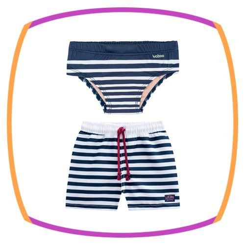 Kit praia infantil 2 peças - Bermuda de Nylon listrada branca e azul marinho e sunga