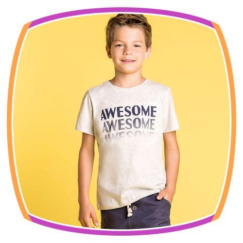 Conjunto infantil Camiseta AWESOME em meia malha e bermuda de moleton