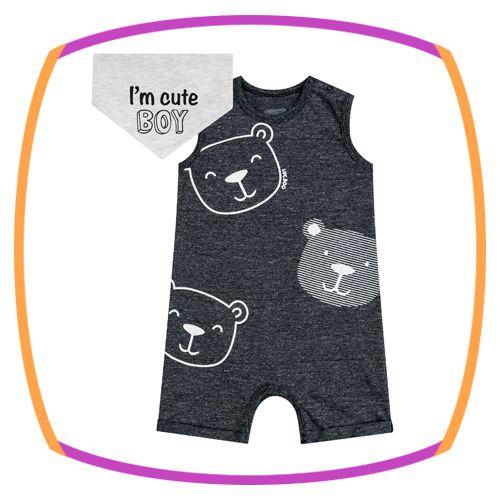 Macacão para bebê em malha molinê estampa urso e lenço em meia malha I'm Cute Boy