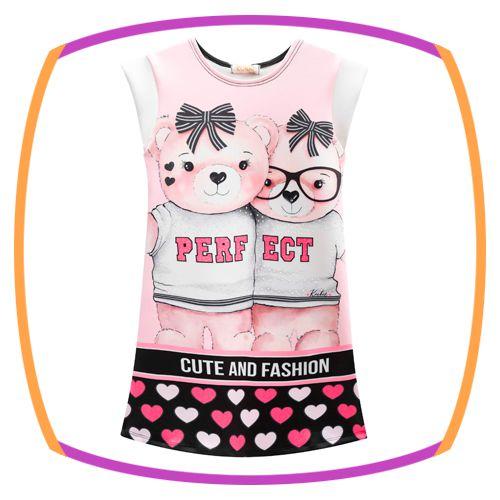 Vestido infantil em fly tech estampa urso PERFECT e corações