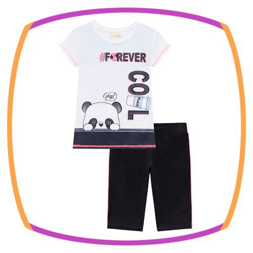 Conjunto infantil T-shirt meia malha COOL FOREVER e ciclista em cotton com detalhe em neon