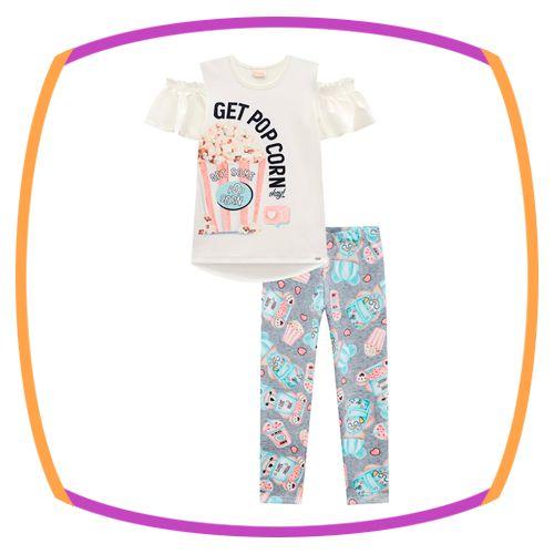 Conjunto infantil blusa em Viscolycra PIPOCA e capri em fly tech estampada
