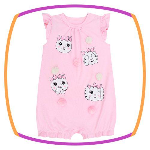 Macacão para bebê em suedine estampa rostinhos na cor rosa e pom pom